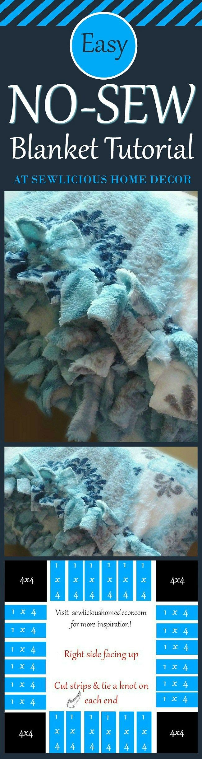 Easy No Sew Blanket Tutorial. Anyone can make this! If you can cut fabric and tie a knot you can make this! sewlicioushomedecor.com