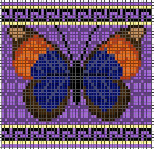 Beautiful butterflies to knit or bead    Did you know that seed beads and knitting stitches have roughly the same dimensions? This means that loom-beading charts can be used as intarsia knitting patterns, and knitting colourwork charts can be used for loom beading. Cool, huh?
