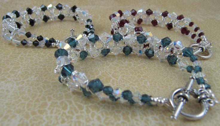 Elegant bracelets using Swarovski crystals.