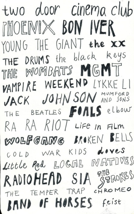 Some of my favorite bands, to name a few.