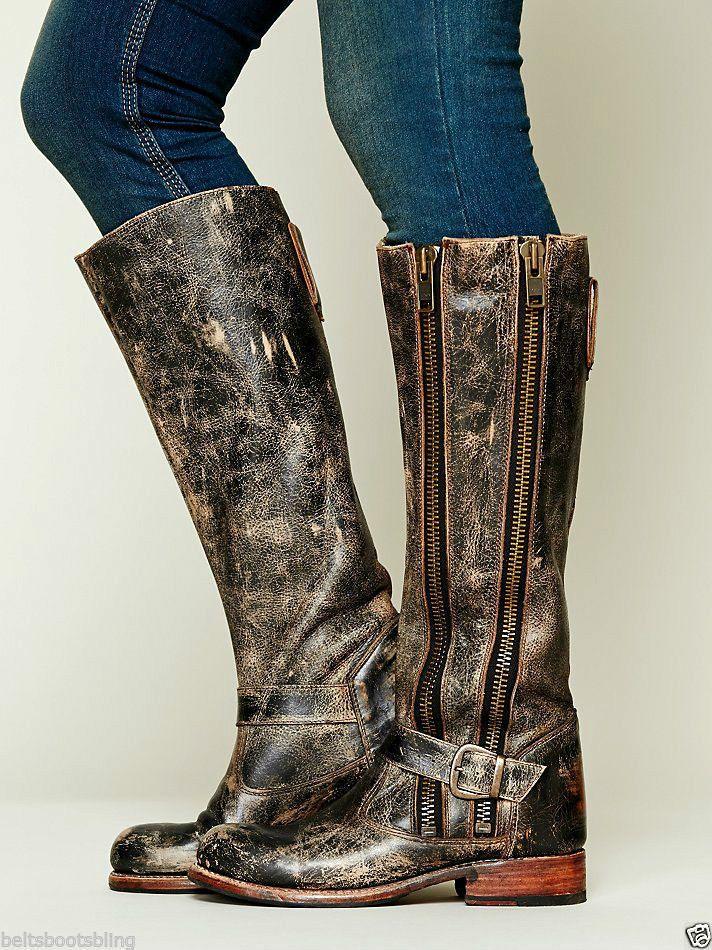 Bed Stu Free People Davi Distress Tango Black Lux Leather Knee High Tall Boots   #BEDSTU #CowboyWestern