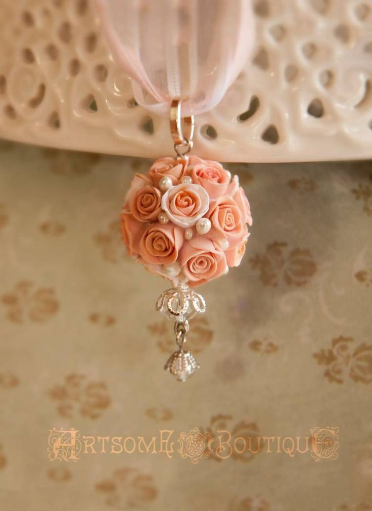 Kissing Ball Pendant, Pomander Rose Ball, Bridesmaid Gift,Gift for Her, Gift for Mom, Mother's Day Gift, Botanical Jewelry, Wedding Necklace by ArtsomeBoutique on Etsy