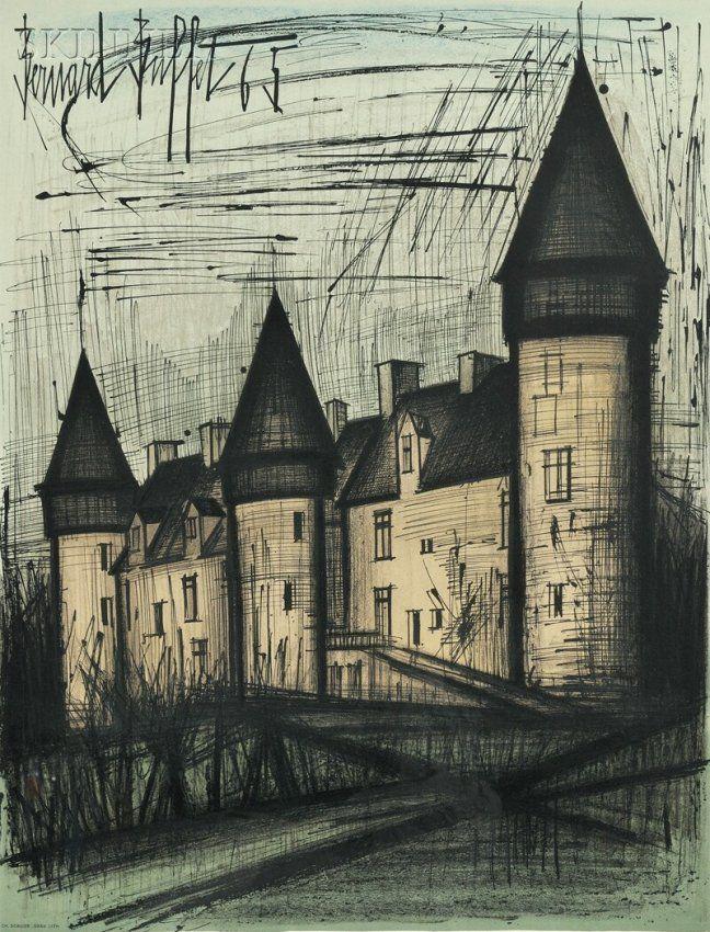 Bernard Buffet (French, 1928-1999) La Château de Culan,