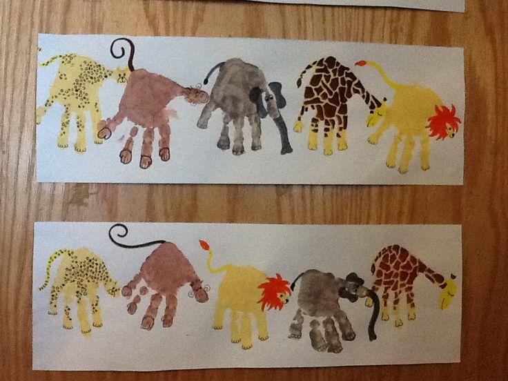 Cheetah, monkey, lion, elephant & giraffe handprint craft!  Infant/toddler room craft!