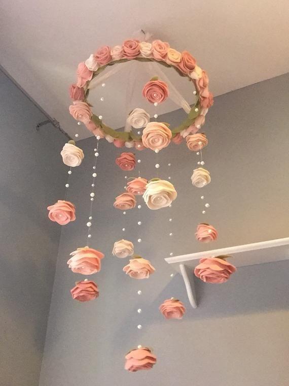 XL vintage blush Felt flower mobile roses and pearls baby girl nursery decor Garden pretty Nursery hanging decor, larger size | baby shower