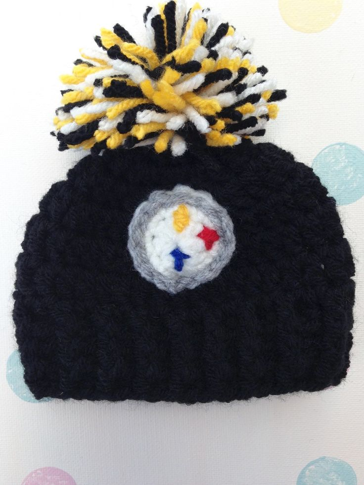 A personal favorite from my Etsy shop https://www.etsy.com/listing/248870166/crochet-pittsburgh-football-hat-with