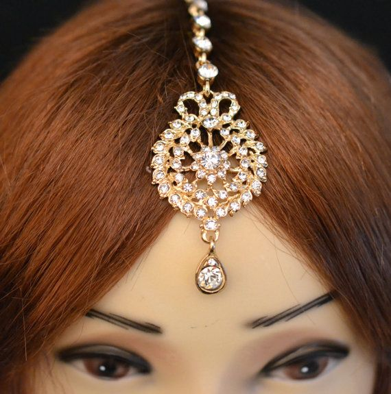 Gold Crystal Indian Matha Patti Tikka Head Chain Jewelry Bridal ...