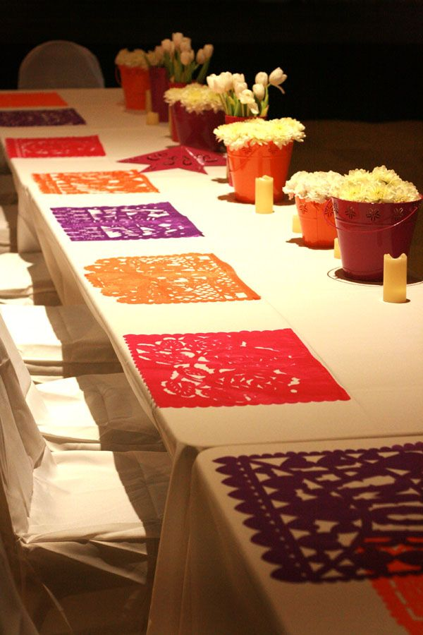 mexican paper art used as placemats.... maybe give it a signature touch???