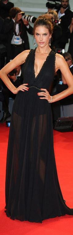 Who made  Alessandra Ambrosio's black gown?