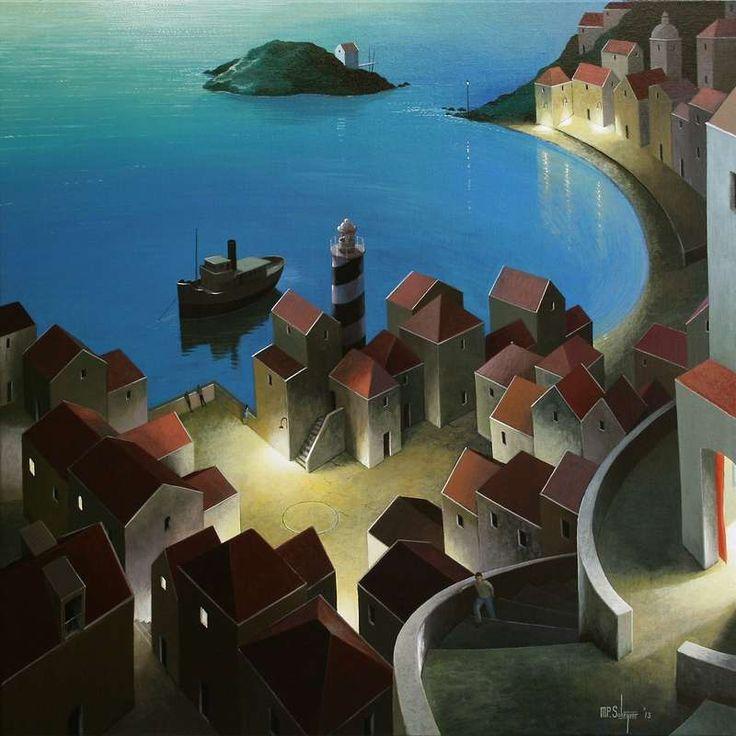 Michiel Schrijver (Dutch, born 1957, Surreal architecture painter, acrylic on canvas) – a late walk, 2013.
