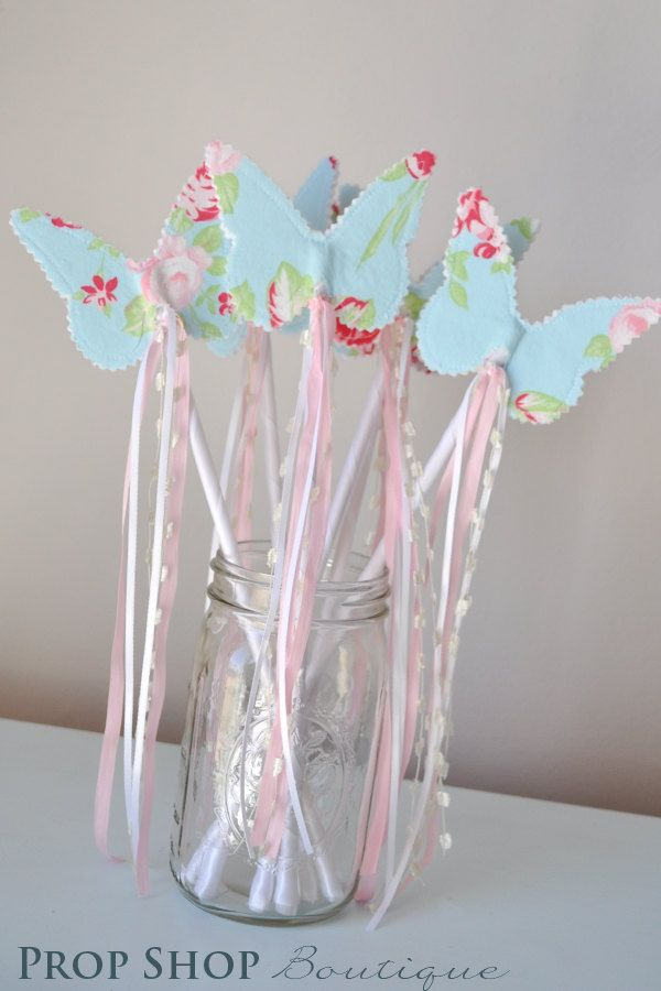 Girls butterfly wand birthday party favor dress up for Birthday wand