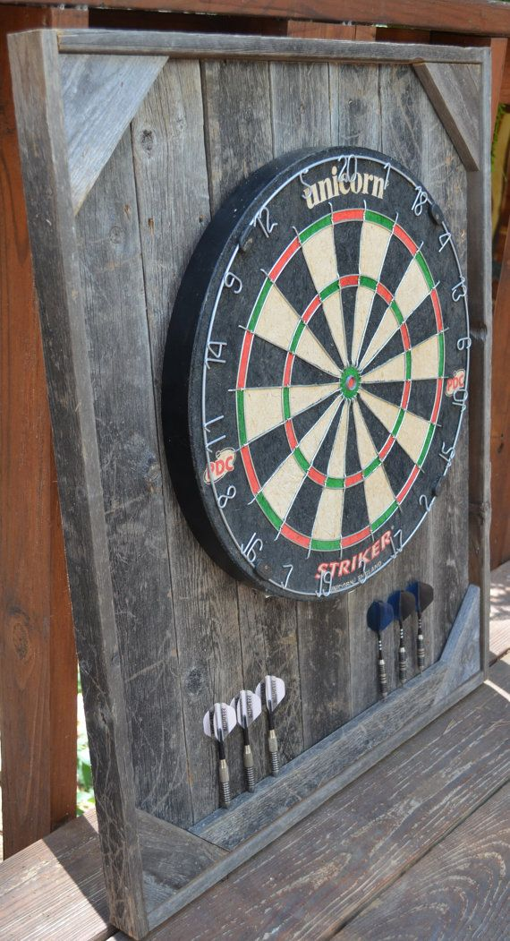 Dart Board Backboard Cabinet Case Barnwood by PineywoodsGoods