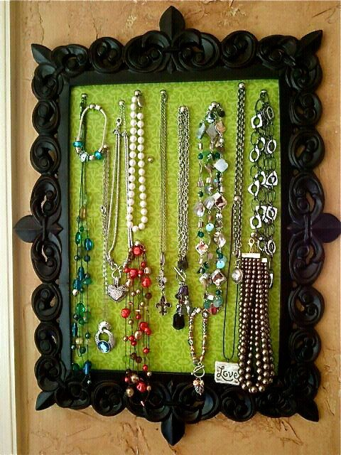 Fabric wrapped cork board in a frame - classy jewelry display