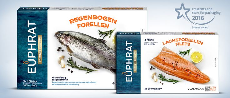 """Packaging design alternatives based on naturalness and appetite appeal were prepared for Euphrat. Fish visuals were decorated with garnitures and spices and they located at the center of the design. Logo was also redesigned with a modern font and a fish figure was used above the """"U"""" to give """"packed fish"""" message. The renewed logo was placed on a wood texture to refer blue-white concept of marinas. #packaging #box #premium #design #awarded #foodpackaging"""