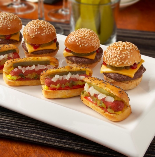 mini hotdogs and burgers for cocktail hour. They sale Oscar Meyer mini weiners at kroger and the buns you can buy online for both burger and hotdogs.