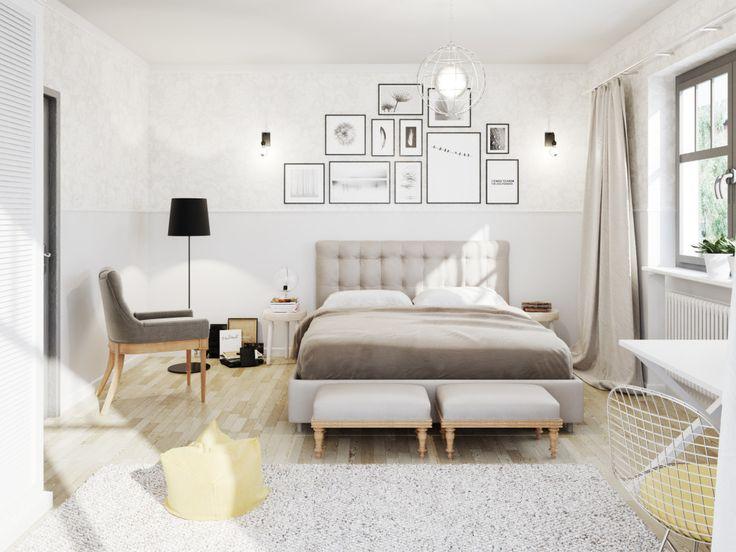 Nieregularny układ zdjęć nad łóżkiem nadaje lekkości całej przestrzeni i wprowadza osobisty akcent do wnętrza sypialni
