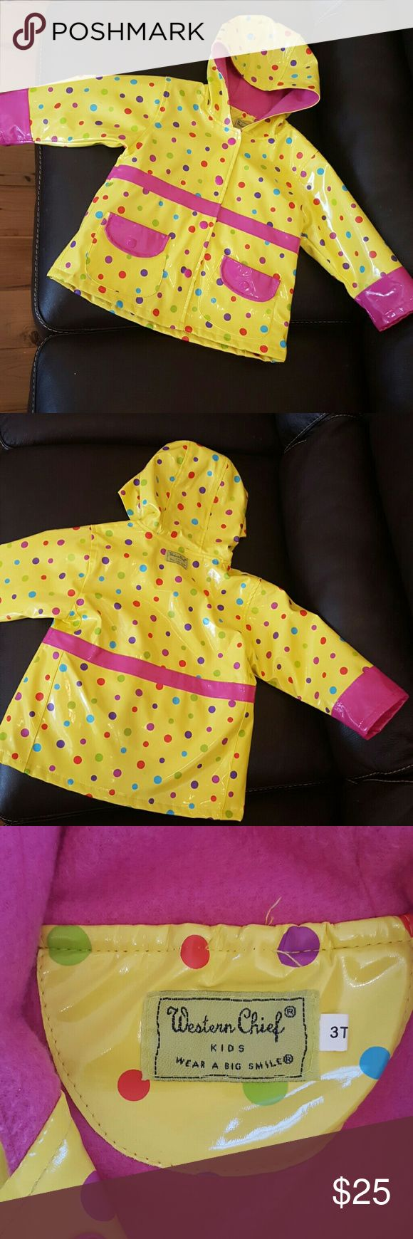 "Western Chief toddler rain jacket Yellow polka dot kids rain coat. Fleece lined and totally adorable!   There is one little scuff on the sleeve shown in the last picture. No more than 1/2"". Virtually brand new!  Thank you for checking out my listing, please visit the rest of my closet. Items added and prices reduced regularly!  Western Chief Jackets & Coats Raincoats #RaincoatsForWomenPolkaDots"