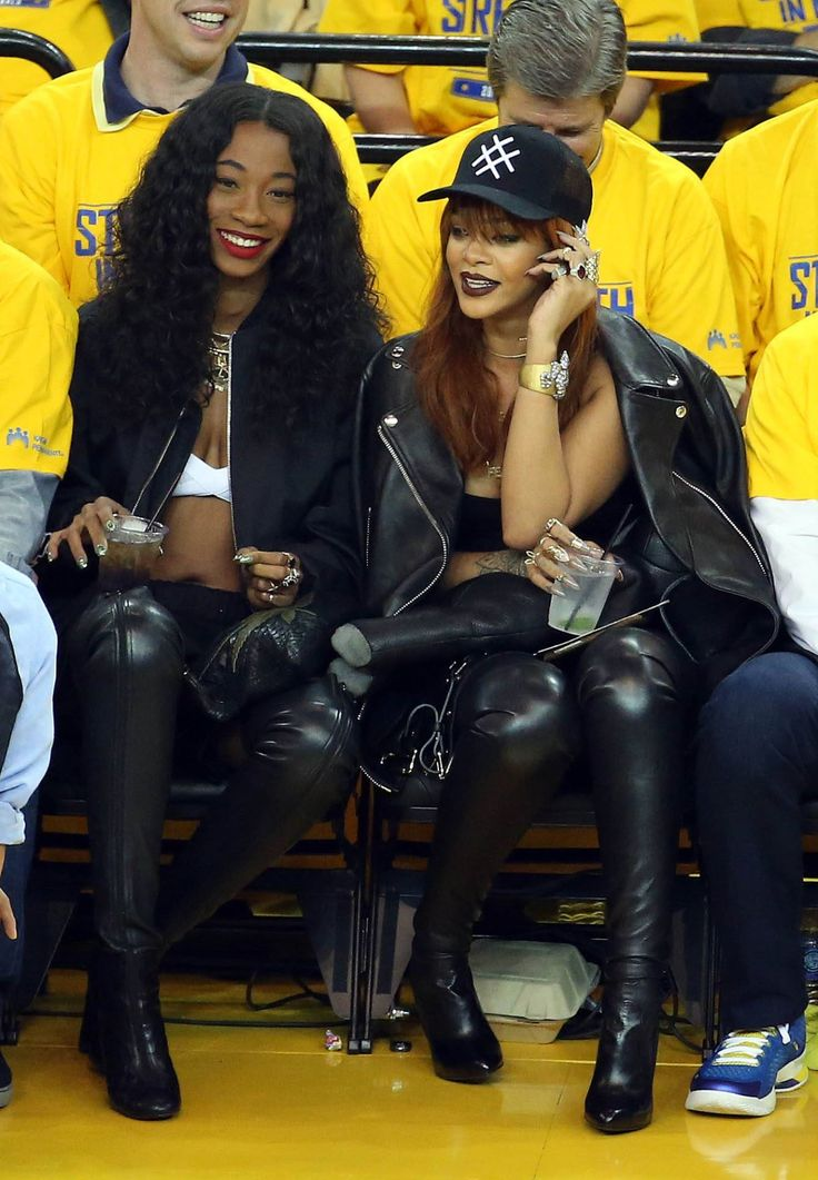 June 4: Rihanna and Melissa Forde attend Game One of Warriors VS Cavaliers NBA Conference Finals game at The ORACLE Arena in Oakland, CA