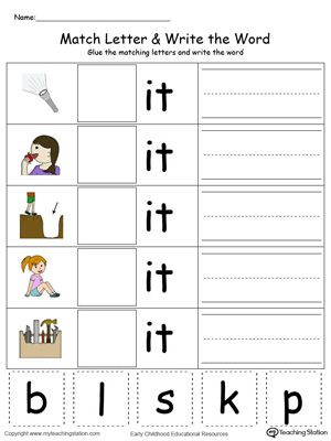 **FREE** IT Word Family Match Letter and Write the Word in Color Worksheet.Topics: Word Families, Reading, Phonics, and Building Words.