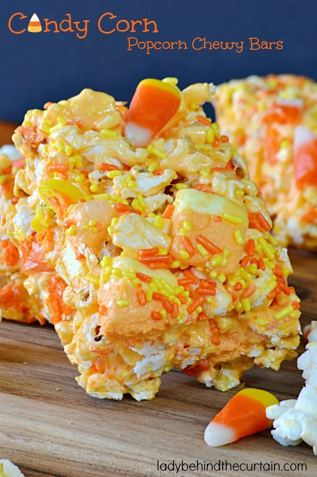 Festive….colorful….and scrumptious! Those are the ways I would describe these Candy Corn Popcorn Chewy Bars.