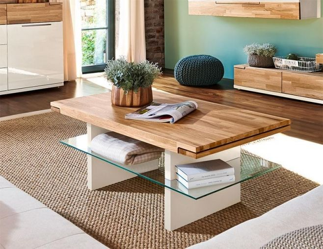 Arte M Feel Solid Oak And White Or Grey Contemporary Coffee Table With  Glass Shelf