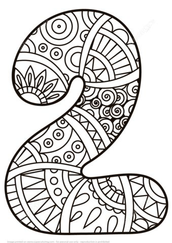 Number 2 Zentangle coloring page from Zentangle Numbers category. Select from 21162 printable crafts of cartoons, nature, animals, Bible and…