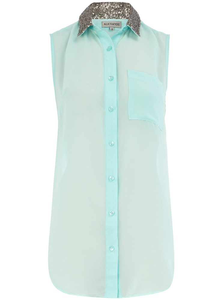 Sequin Collar ShirtSequins Collars, Mint Green, Fashion Style, Summer Style, Colors, Dorothy Perkins, Saia Mini-Sequins, Chiffon Shirts, Collars Shirts