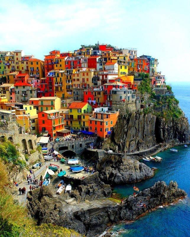 CINQUE TERRE ITALY, which means Five Lands, comprise the five small coastal villages of Riomaggiore, Manarola, Corniglia, Vernazza and Monterosso located in the Italianregion of Liguria. They are listed on the UNESCO World Heritage List.