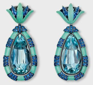 Hemmerle 'Egyptian Story' lotus earrings with sapphires, white gold, silver and copper
