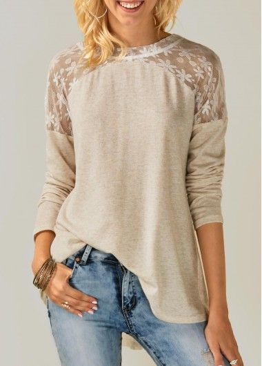 Lace Panel Tie Back Beige Blouse | Rosewe.com - USD $29.58