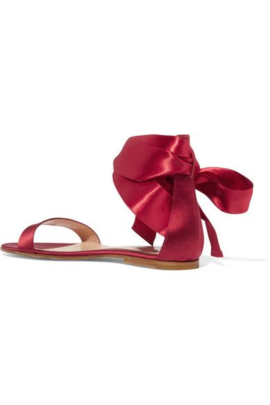 Gianvito Rossi - Lace-up Satin Sandals - Burgundy - IT35.5