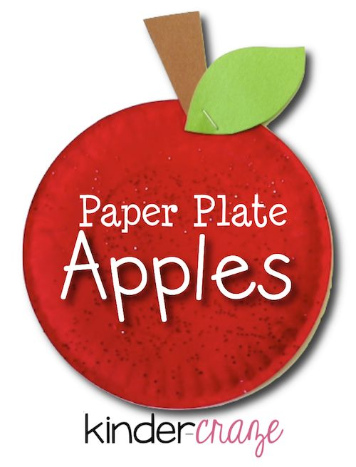 Simple instructions to create an apple craft from small paper plates
