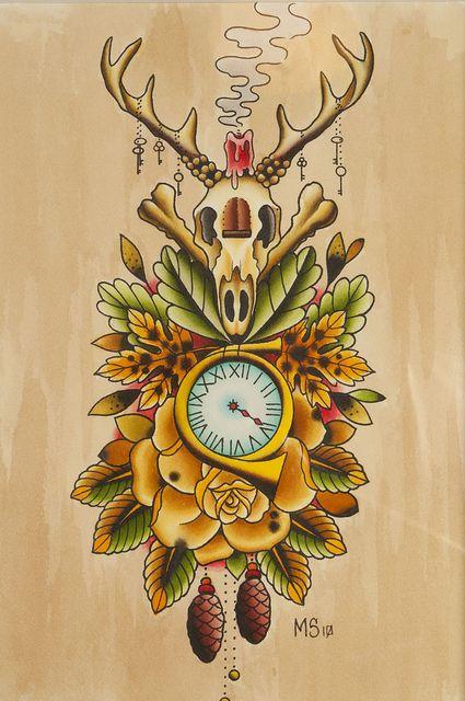 cuckoo clock by brokenarttattoo, via Flickr