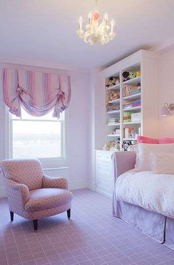 girl's rooms - purple settee daybed pink pillows built-ins cabinet bookcase pink purple chair pink purple striped valance crystal chandelier #EasyNip