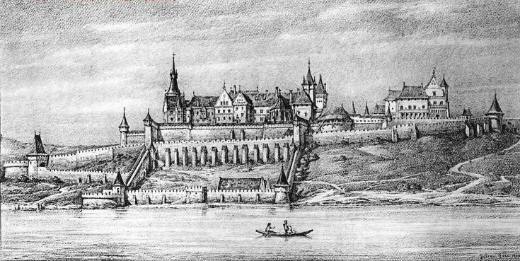 Mátyás budai vára - The Royal Palace in Buda, engraving from the 1480s