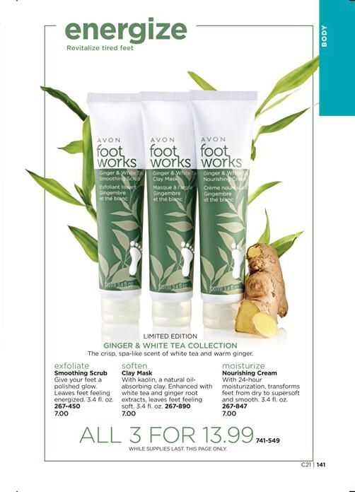 Ginger & White Tea Collection, a $21 value for just $13.99!  This trio includes: - Avon Foot Works Ginger & White Tea Smoothing Scrub - Avon Foot Works Ginger & White Tea Clay Mask - Avon Foot Works Ginger & White Tea Nourishing Cream  #Avon #AvonRep #FootWorks #Ginger #WhiteTea #FootScrub #FootCream #ClayMask #LimitedEdition #Sale  https://www.avon.com/product/ginger-white-tea-collection-58769?rep=maureenmayer
