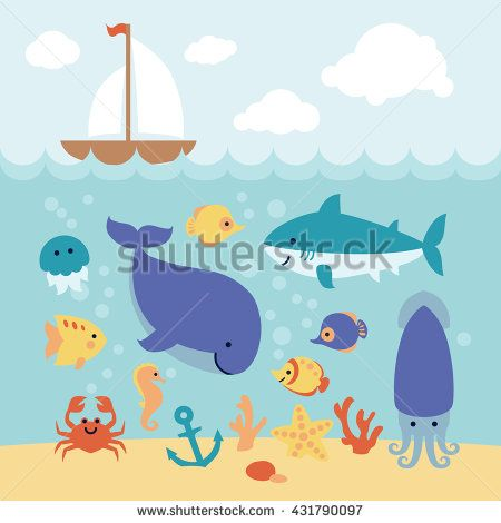 Cute cartoon sea animals swimming under the sea and boat on the waves. Art vector Illustration.