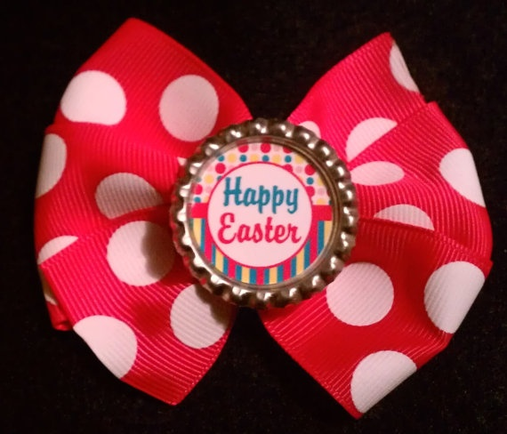 Pink Polka Dot Happy Easter Pinwheel Bow by PrettyThingsBows, $4.00