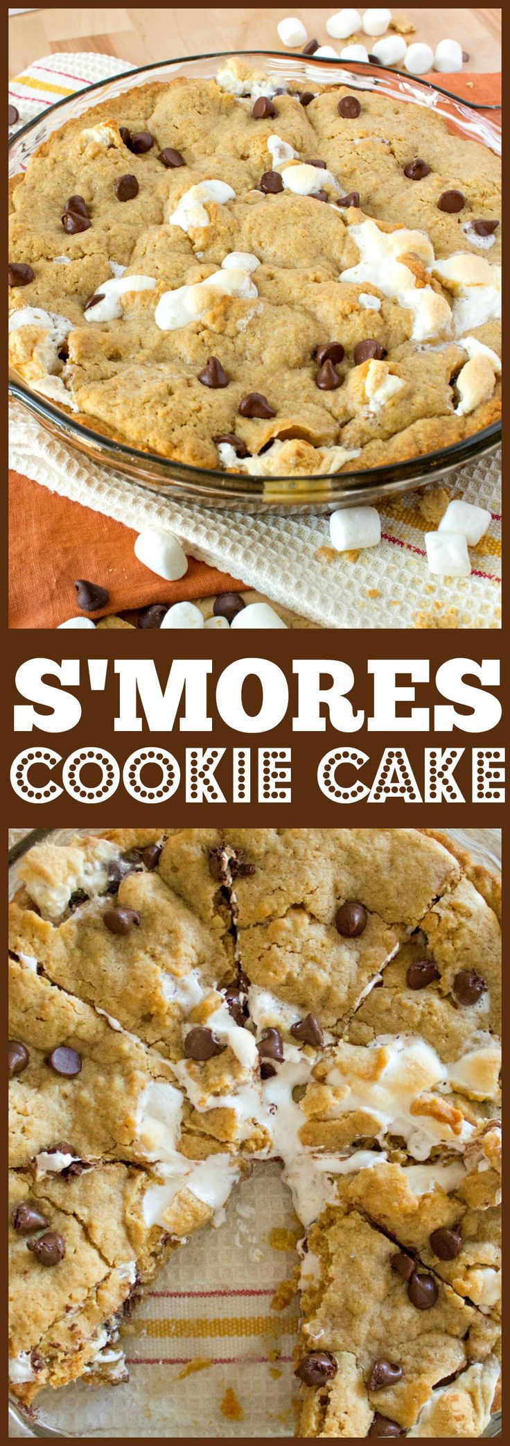 Your favorite campfire snack, now in cookie cake form! The crust is made from brown sugar cookie and graham crackers and filled with tons of chocolate and marshmallow. Yummmm!