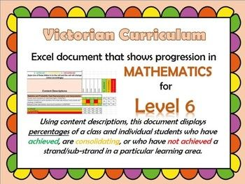 This Excel spreadsheet allows you to keep track of individual students and/or a classs progression through the strands and sub-strands in Mathematics for Level 6.All you have to do is type an a, b, or c into a cell for a student to show their progression of that particular content descriptor.