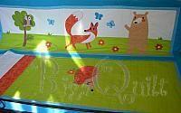 bq rókás falvédő és ágyterítő, Fox quilt, green and blue, annimals kidsroom, babyquilt, decor, walldecor
