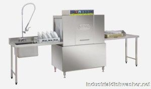 Industrial dishwasher, can wash a load in under 10 min.