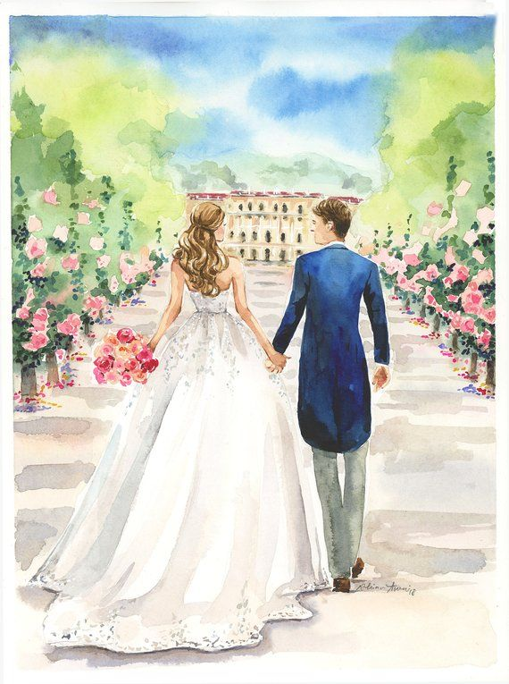 Original Watercolor Couple Portrait Custom Illustration Etsy