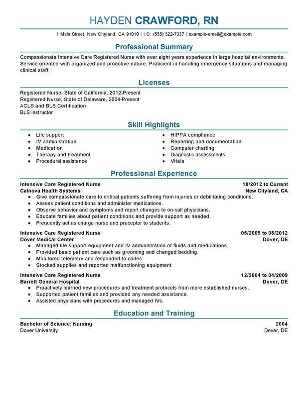 9 best Nursing Resumes images on Pinterest Registered nurse resume