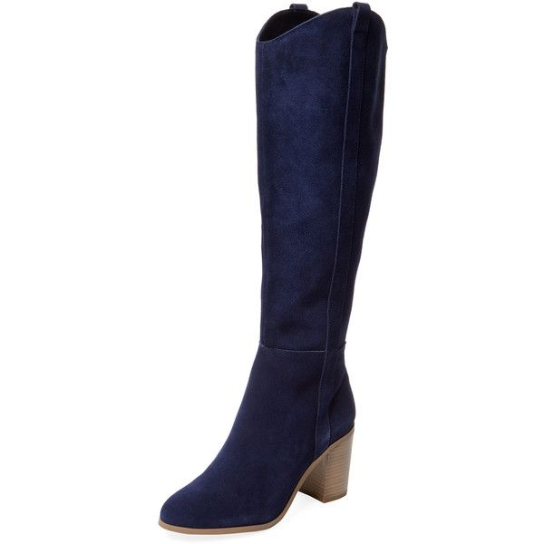 Seychelles Women's Disclose Tall Suede Boot - Dark Blue/Navy, Size 6 ($100) ❤ liked on Polyvore featuring shoes, boots, tall suede boots, tall knee high boots, suede boots, suede thigh-high boots and suede knee high heel boots
