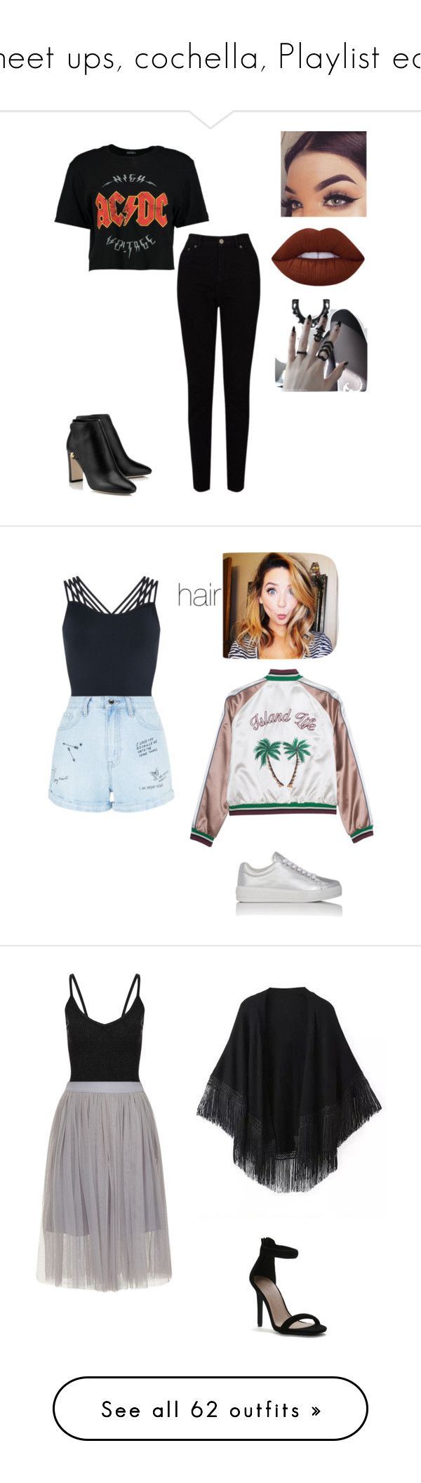 """meet ups, cochella, Playlist ect"" by cupcakebluestar ❤ liked on Polyvore featuring Boohoo, EAST, Lime Crime, Prada Sport, Pepper & Mayne, New Look, Relaxfeel, Topshop, Borghese and Carvela"