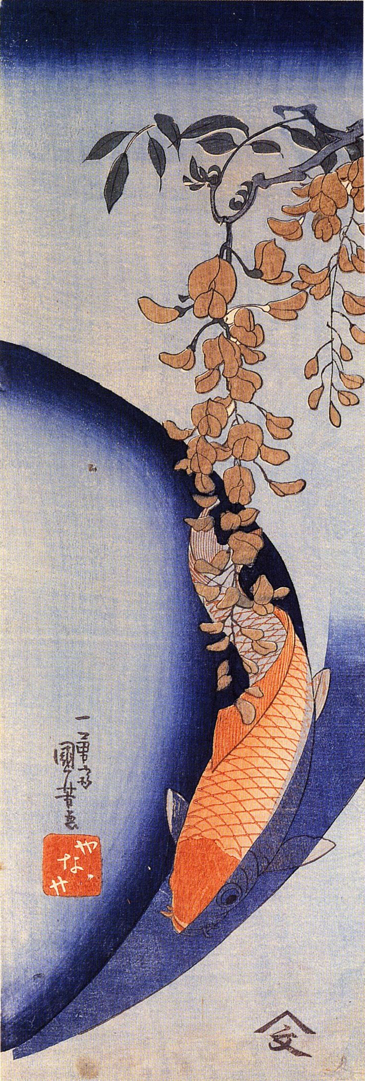 utagawa-kuniyoshi/red-carp-under-wisteria, oooh, I love this wisteria and carp, blue and orange...