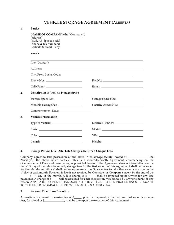28 Storage Contract Template Free in 2020 Contract