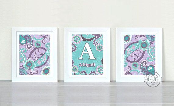 Purple Aqua Paisley Art Prints, Paisley Nursery Decor Trio Print Wall Art, Match with Brooklyn Bedding