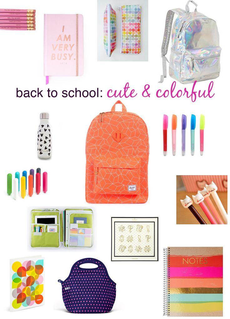 cute & colorful school supplies